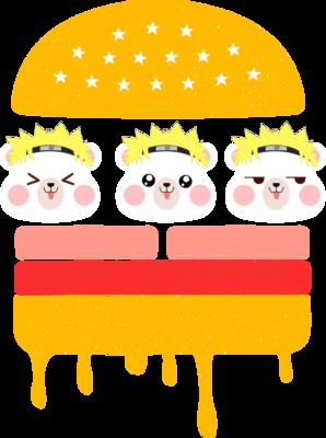卡通小熊夹心汉堡