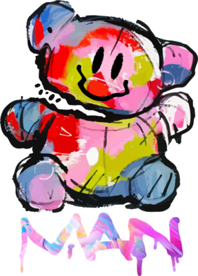 炫彩创意设计涂鸦断头熊